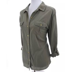 Chico's Button Up  Utility Shirt Roll Tab Sz L